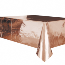 Metallic Rose Gold Table Cloth - Plastic 9ft Tablecover 1pc